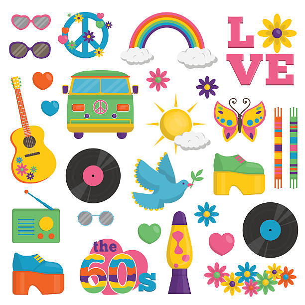 vintage 1960s hippie style item set - 1960s style stock illustrations, clip art, cartoons, & icons