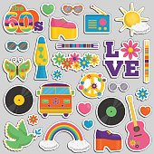 Collection of vintage retro 1960s hippie style sticker patches that symbolize the 60s decade fashion accessories, style attributes, leisure items and innovations.