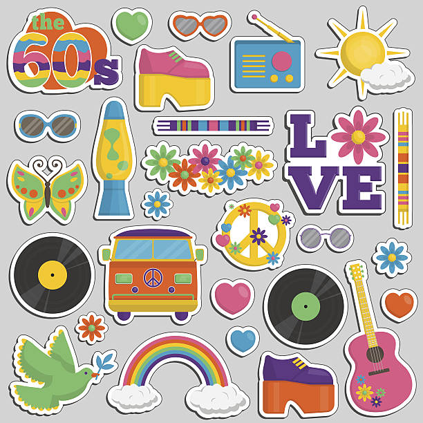 vintage 1960s hippie style patch sticker set - 1960s style stock illustrations, clip art, cartoons, & icons