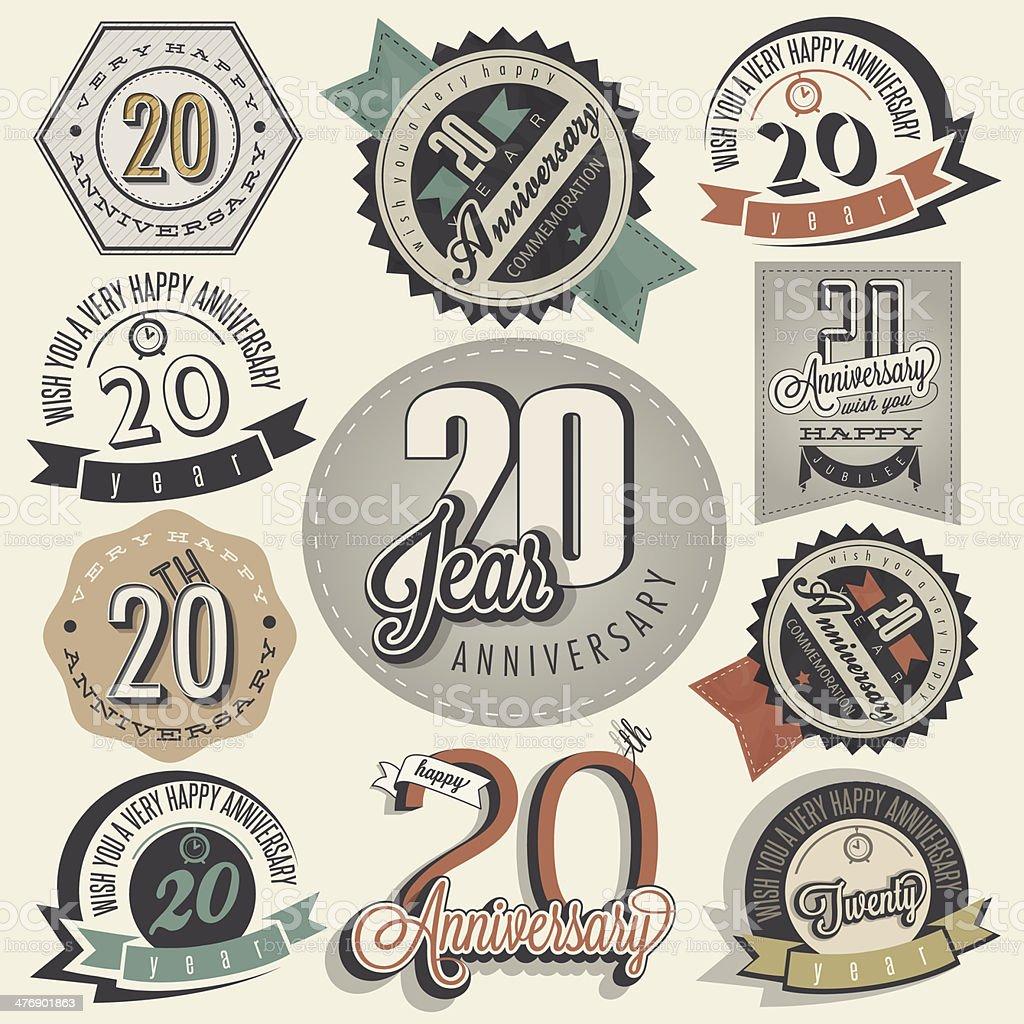 Vintage 20 anniversary collection vector art illustration