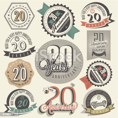 Twenty anniversary design in retro style. Vintage labels for anniversary greeting. Hand lettering style typographic and calligraphic symbols for 20 anniversary.