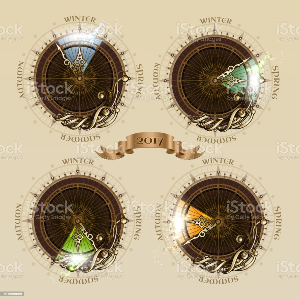 Vintage 2017 calendar vector art illustration
