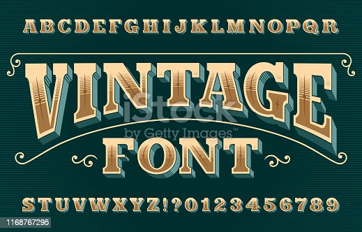 istock Vintage 3D alphabet font. Ornate retro letters and numbers. 1168767295