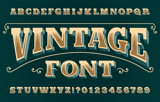 Vintage 3D alphabet font. Ornate retro letters and numbers.