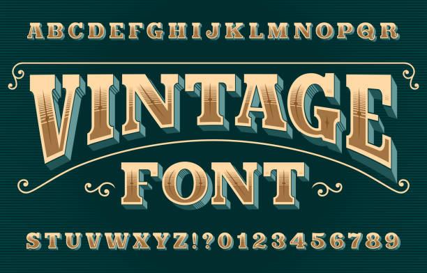 빈티지 3d 알파벳 글꼴입니다. 화려한 복고풍 문자와 숫자. - 오래된 stock illustrations