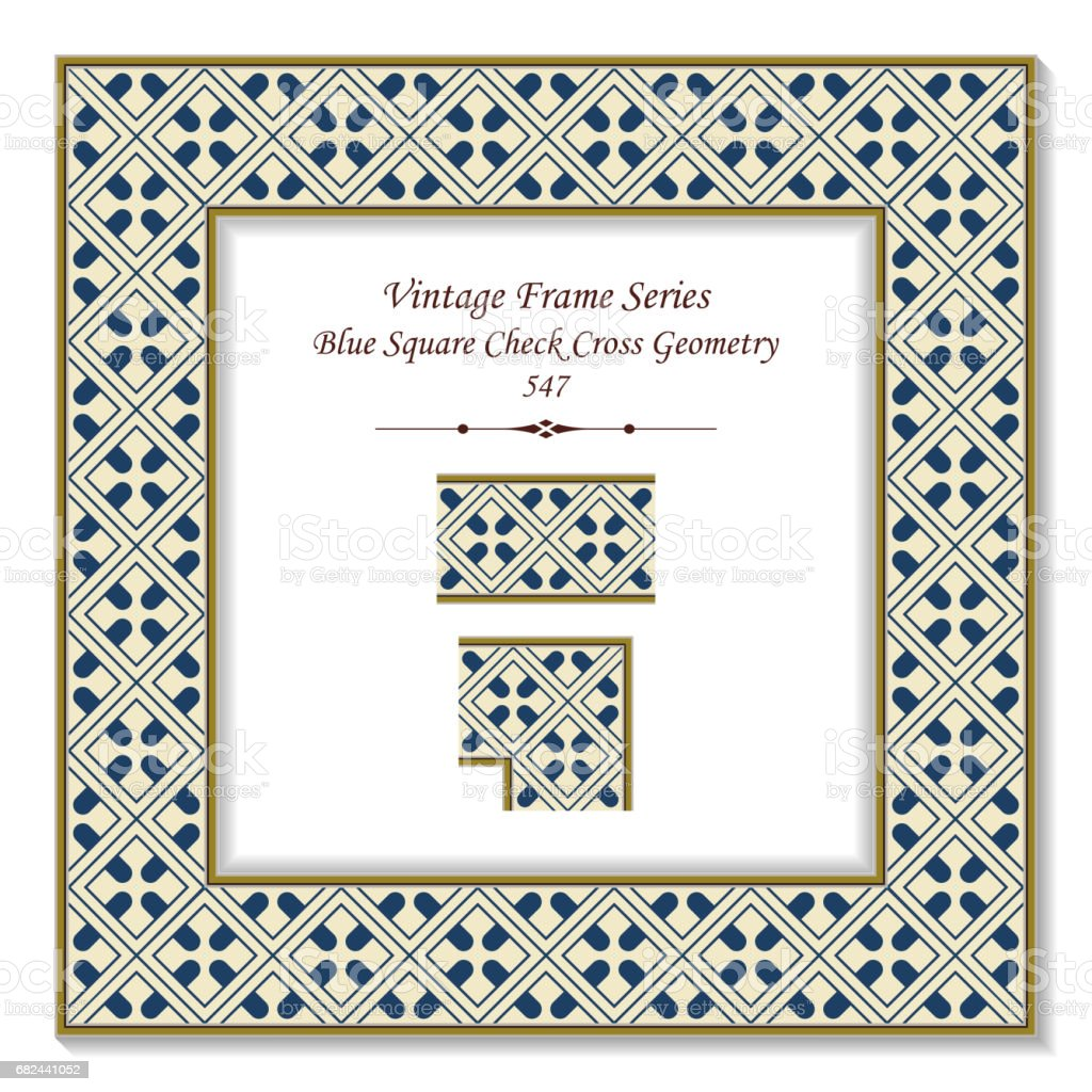 Vintage 3D frame Blue Square Check Cross Geometry royalty-free vintage 3d frame blue square check cross geometry stock vector art & more images of arts culture and entertainment
