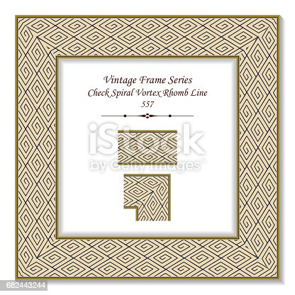 Vintage 3d Frame Check Spiral Vortex Rhomb Line Stock Vector Art & More Images of Arts Culture and Entertainment 682443244