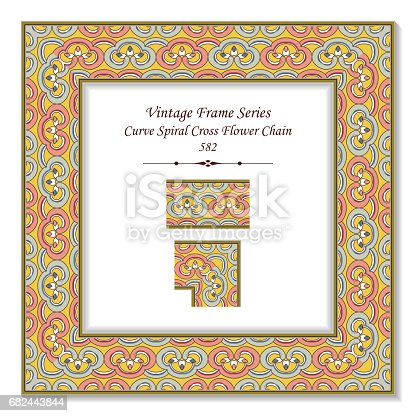 Vintage 3d Frame Curve Spiral Cross Flower Chain Stock Vector Art & More Images of Arts Culture and Entertainment 682443844