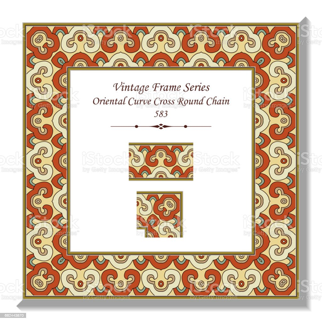 Vintage 3D frame Oriental Curve Cross Round Chain 免版稅 vintage 3d frame oriental curve cross round chain 向量插圖及更多 傳統園林 圖片