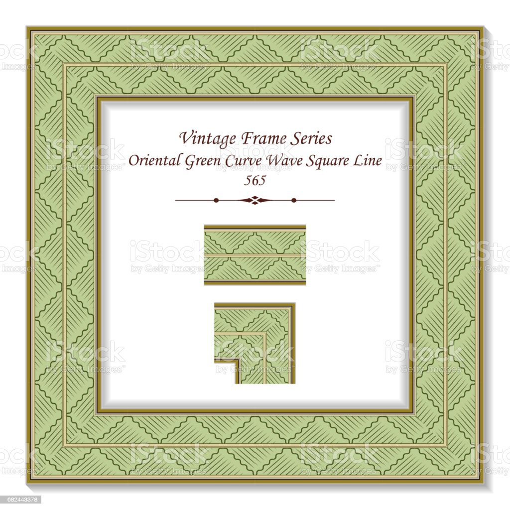 Vintage 3D frame Oriental Green Curve Wave Square Line royalty-free vintage 3d frame oriental green curve wave square line stock vector art & more images of arts culture and entertainment