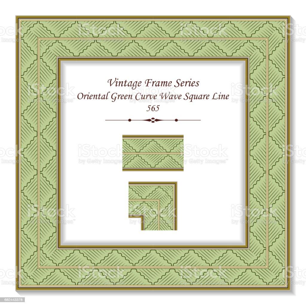 Vintage 3D frame Oriental Green Curve Wave Square Line Lizenzfreies vintage 3d frame oriental green curve wave square line stock vektor art und mehr bilder von altertümlich