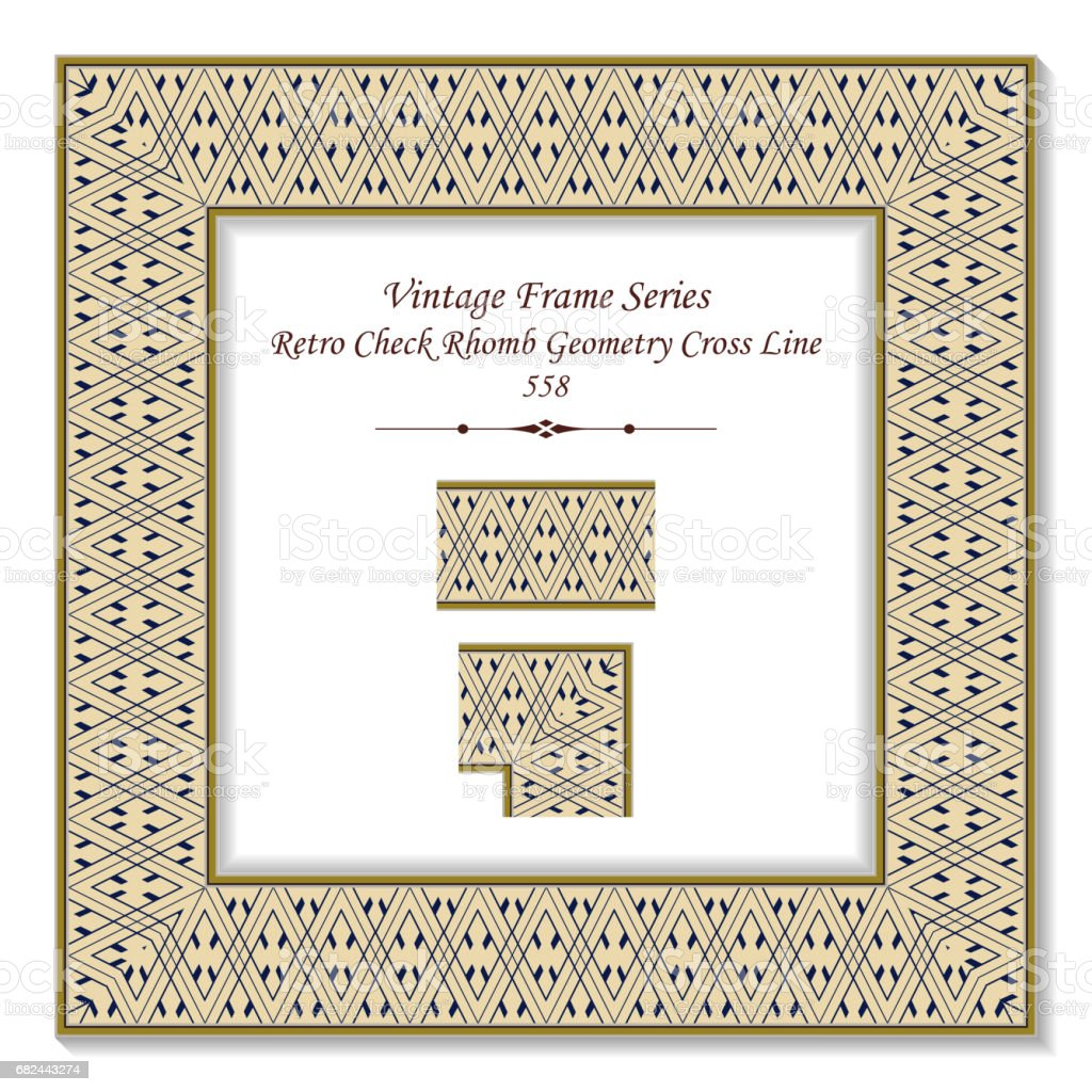 Vintage 3D frame Retro Check Rhomb Geometry Cross Line royalty-free vintage 3d frame retro check rhomb geometry cross line stock vector art & more images of arts culture and entertainment