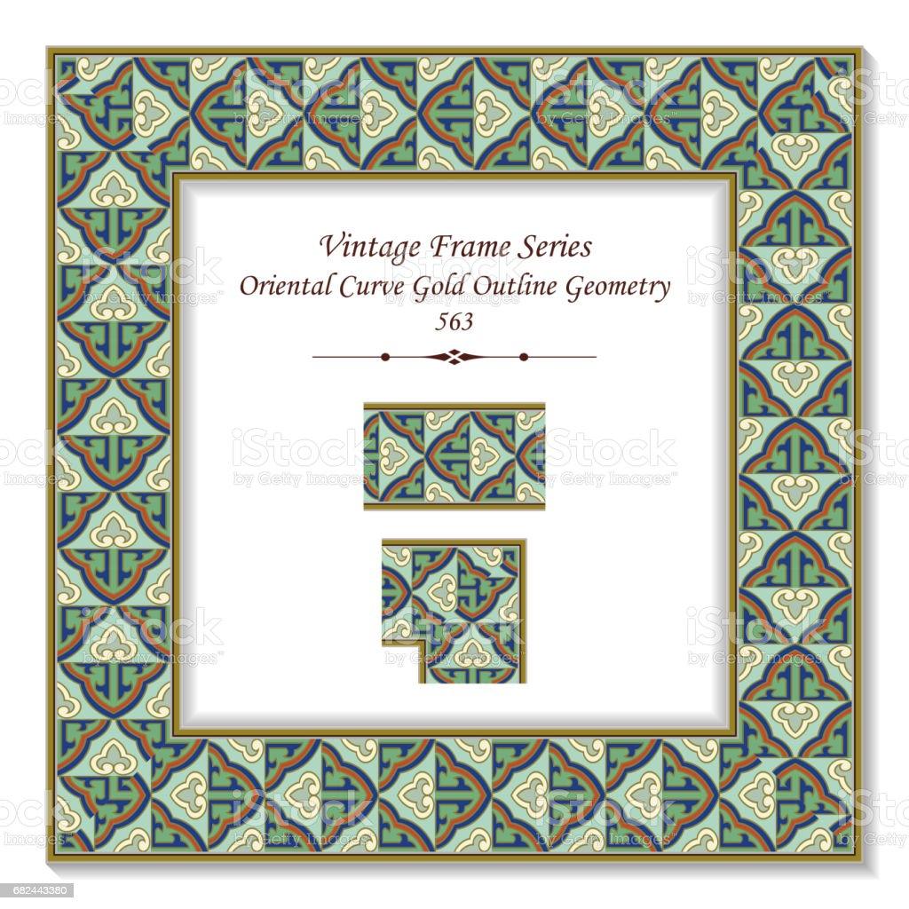 Vintage 3D frame Retro Green Oriental Curve Gold Outline Geometry vintage 3d frame retro green oriental curve gold outline geometry – cliparts vectoriels et plus d'images de arts culture et spectacles libre de droits