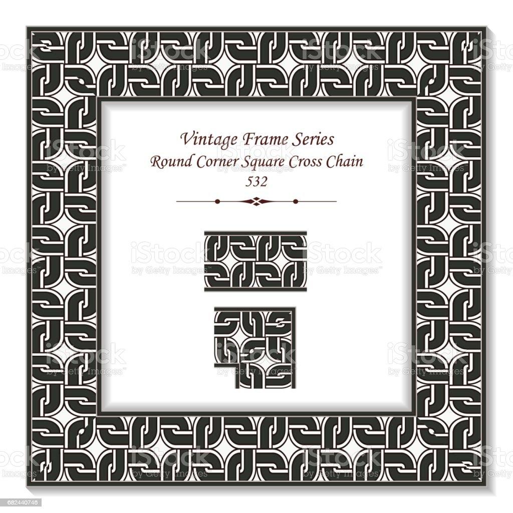 Vintage 3D frame Round Corner Square Cross Geometry Chain vintage 3d frame round corner square cross geometry chain – cliparts vectoriels et plus d'images de arts culture et spectacles libre de droits