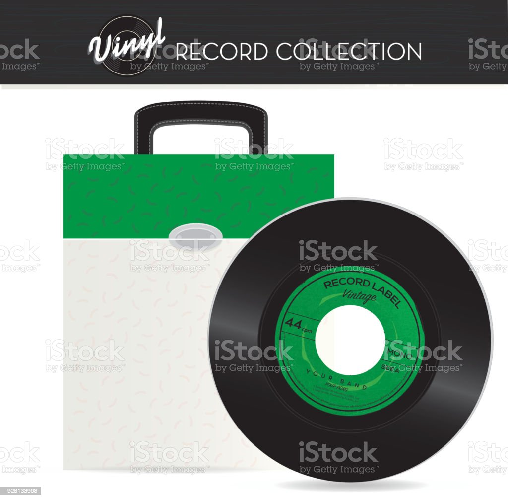 Vintage 45 rpm record holder case with vinyl vector art illustration