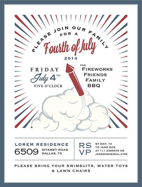 Vintage 4th of July Independence Day invitation card vector art illustration