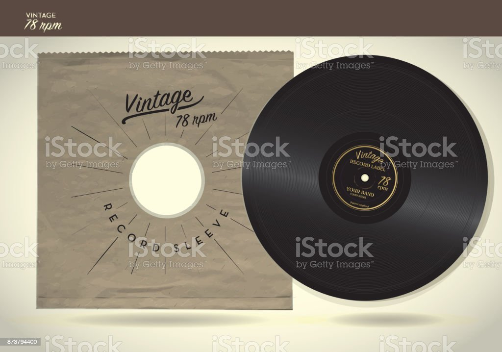 Vintage 78rpm record and paper sleeve design template vector art illustration