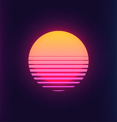 Vintage 80s Colorful Retro Sunset Vaporwave Synthwave Styled