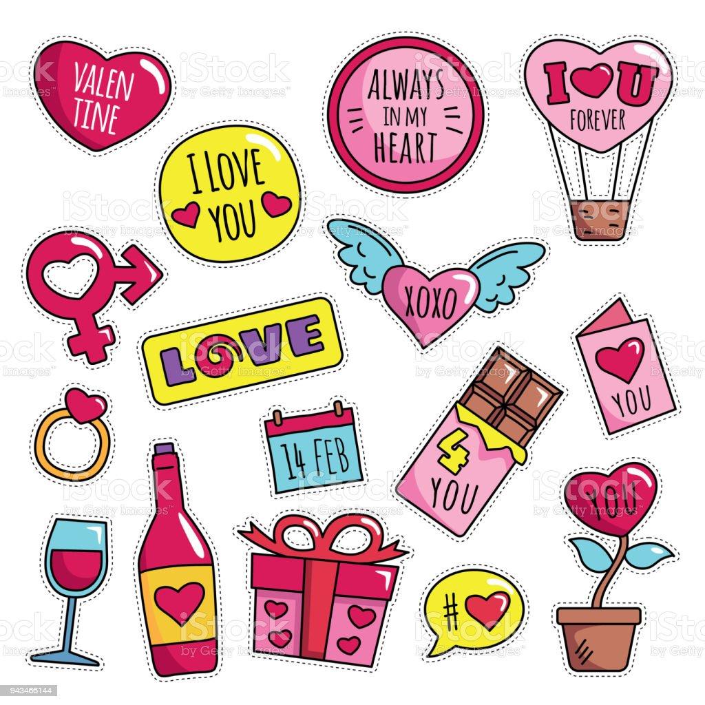 Vintage 80s90s Happy Valentine Theme Fashion Cartoon Illustration