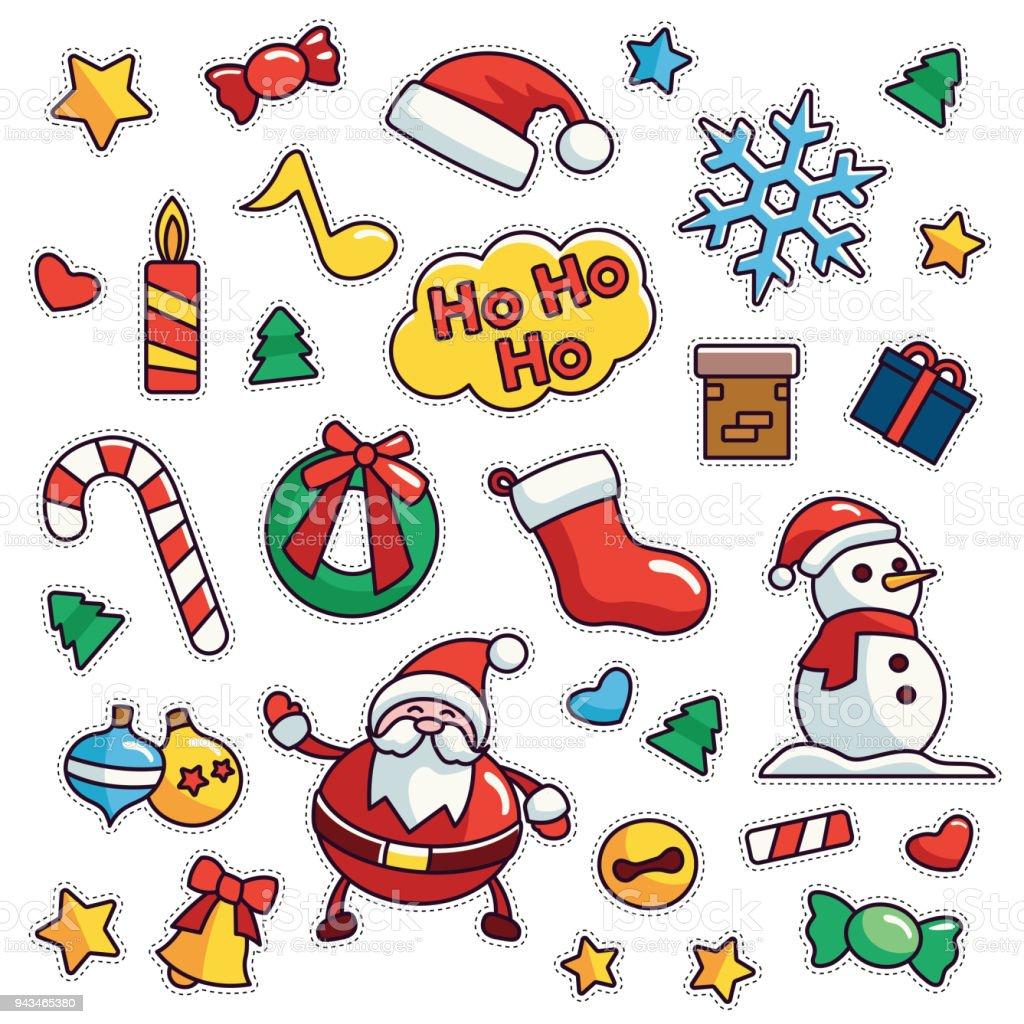 Vintage 80s 90s Merry Christmas Theme Fashion Cartoon Illustration Set Royalty Free 80s90s