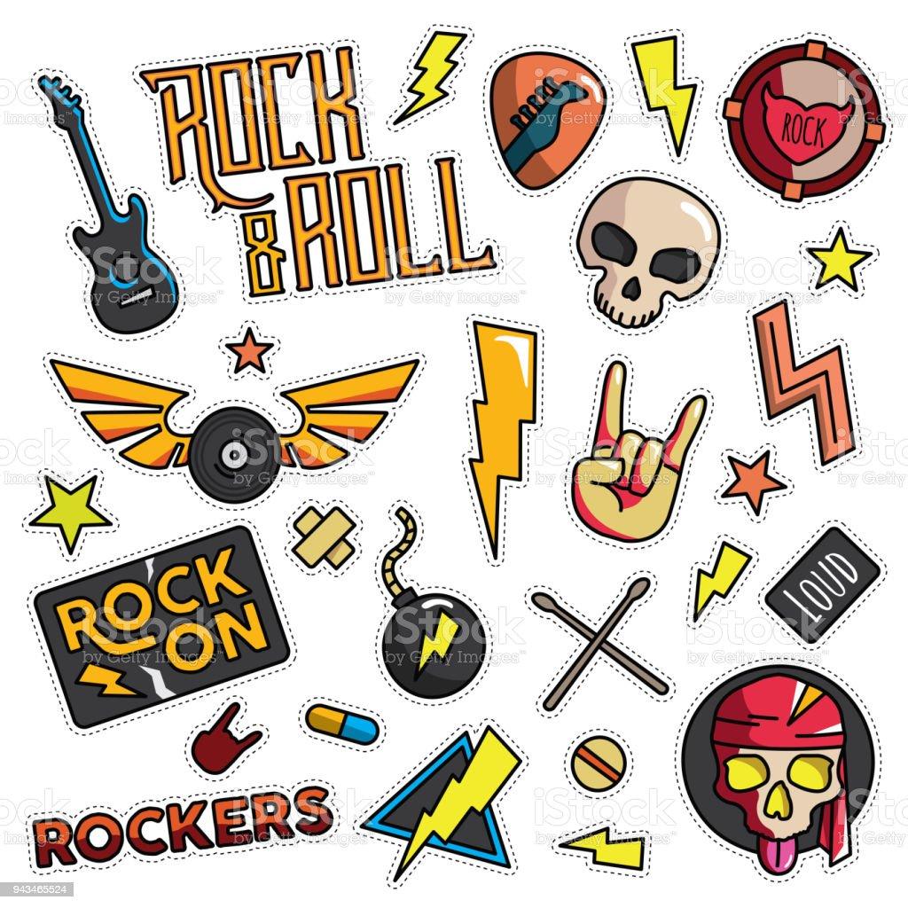 Vintage 80er-90er Rock And Roll Thema modeillustration Cartoon eingestellt - Lizenzfrei Abzeichen Vektorgrafik