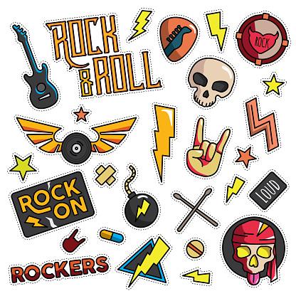 Vintage 80er90er Rock And Roll Thema Modeillustration Cartoon Eingestellt Stock Vektor Art und mehr Bilder von Abzeichen