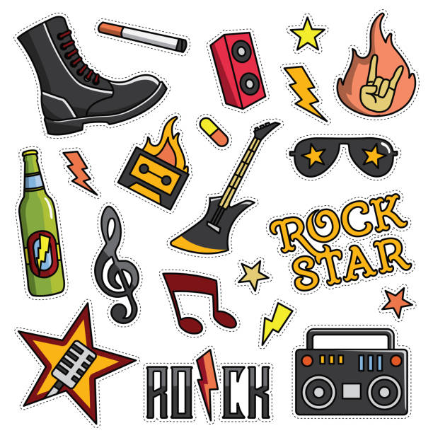 vintage 80er-90er rock and roll thema modeillustration cartoon eingestellt - rocker stock-grafiken, -clipart, -cartoons und -symbole