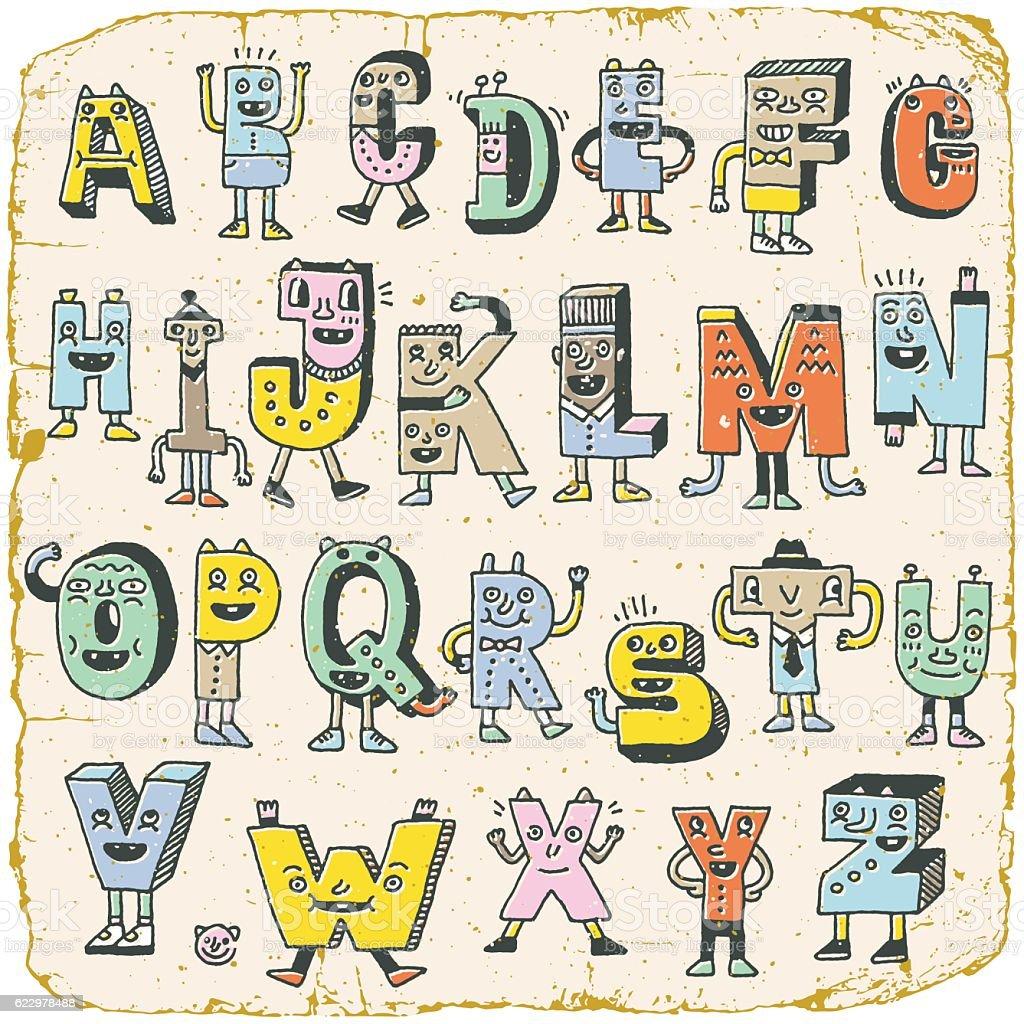 Vintage abc alphabet characters wacky doodle letters design color vintage abc alphabet characters wacky doodle letters design color set royalty free vintage altavistaventures Images