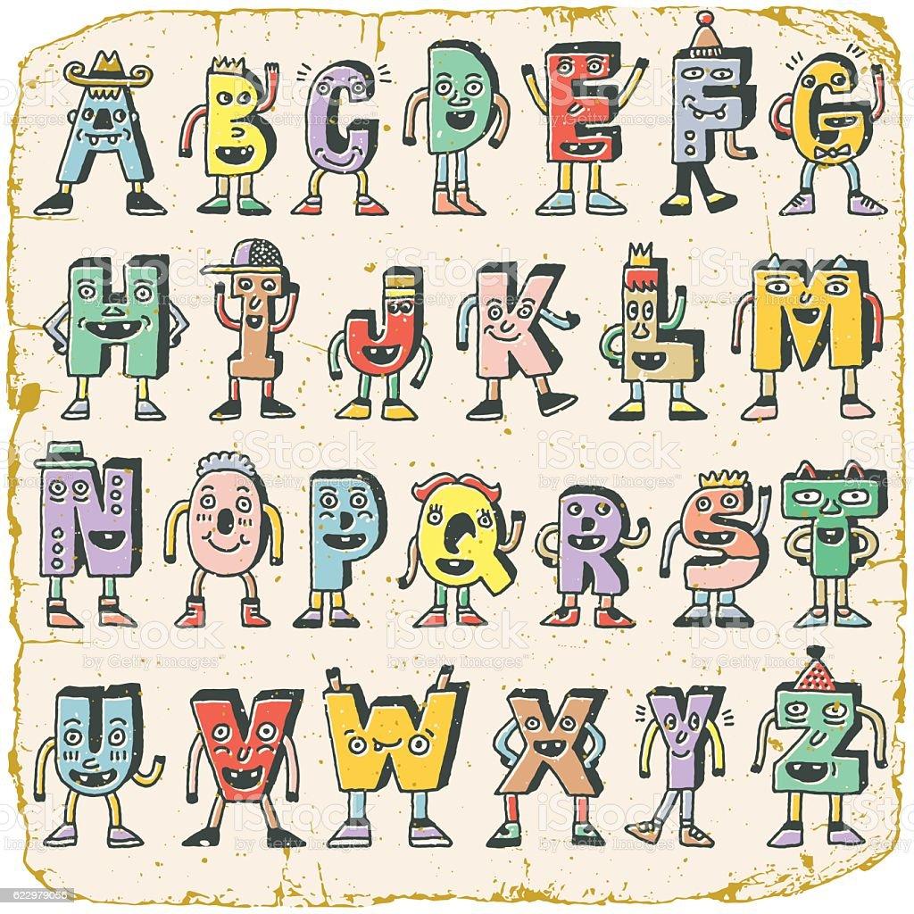 Vintage abc funny alphabet characters wacky doodle letters color set vintage abc funny alphabet characters wacky doodle letters color set royalty free vintage altavistaventures Image collections