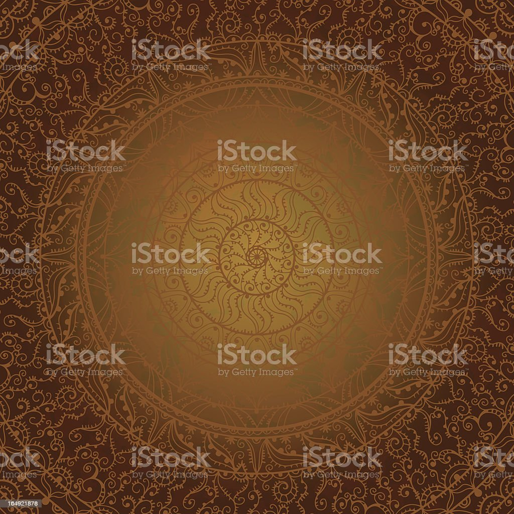 Vintage abstract brown background with lace ornament royalty-free stock vector art