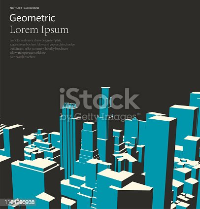 vintage abstract city building style 3D geometric cube pattern background