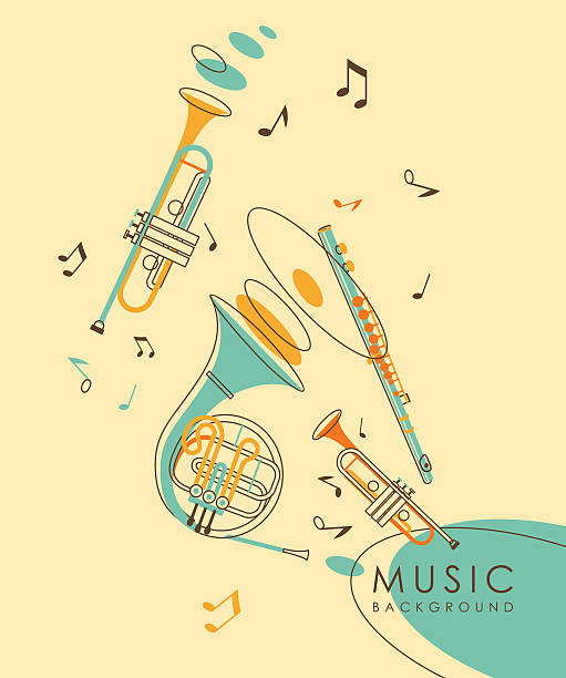 stockillustraties, clipart, cartoons en iconen met vintage abstract musical background - blaasinstrument