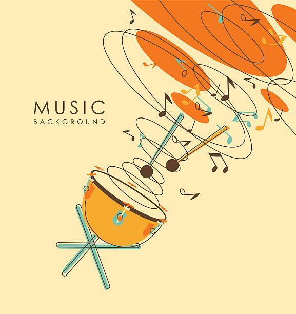stockillustraties, clipart, cartoons en iconen met vintage abstract musical background - slaginstrument