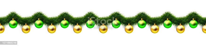 Vintage abstract vector christmas decoration with gold and green xmas balls and tinsel look like christmas tree branches. Object isolated on white background. Winter holiday repeating pattern.