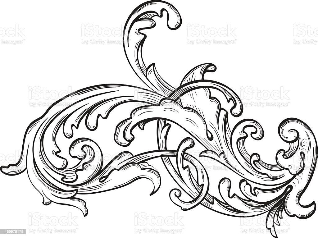 Vintage acanthus nice flower vector art illustration