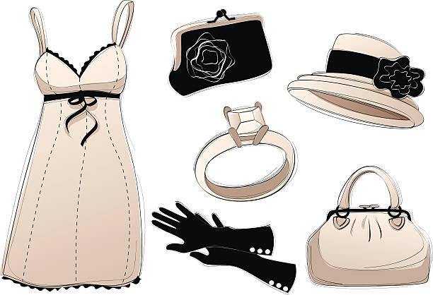 Vintage Accessories vector art illustration