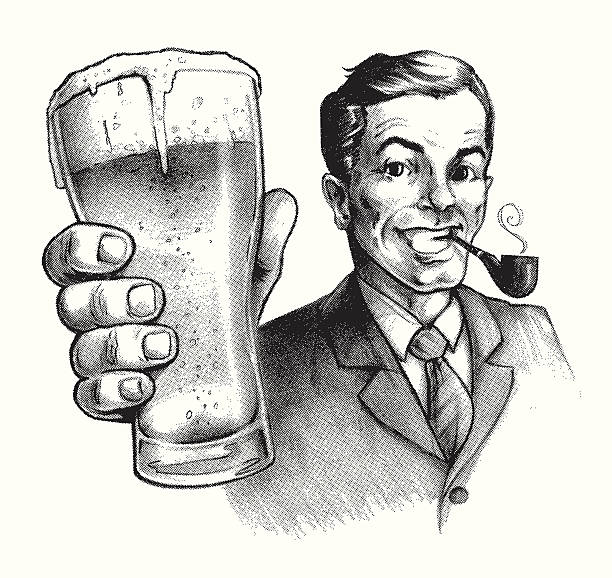 stockillustraties, clipart, cartoons en iconen met vintage ad beer buddy - overhemd en stropdas