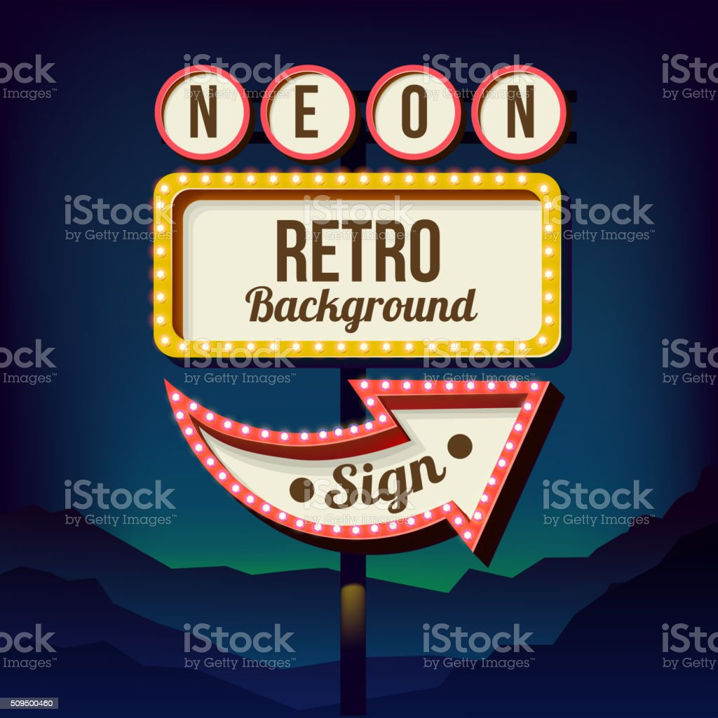 Vintage advertising road billboard with lights. Retro 3d sign vector art illustration
