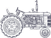 Vintage agricultural tractor, sketch. Hand drawn Vector illustration