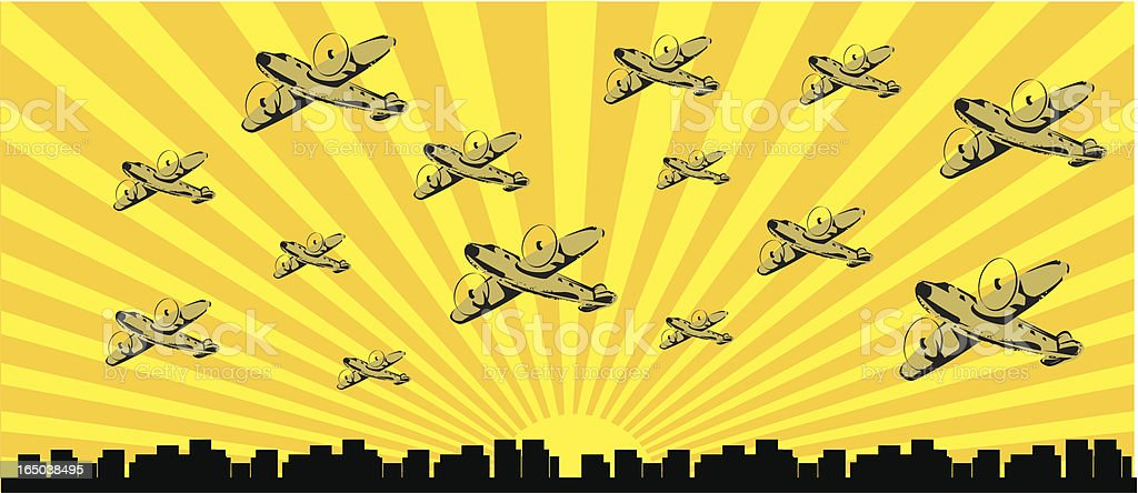 vintage air raid royalty-free stock vector art