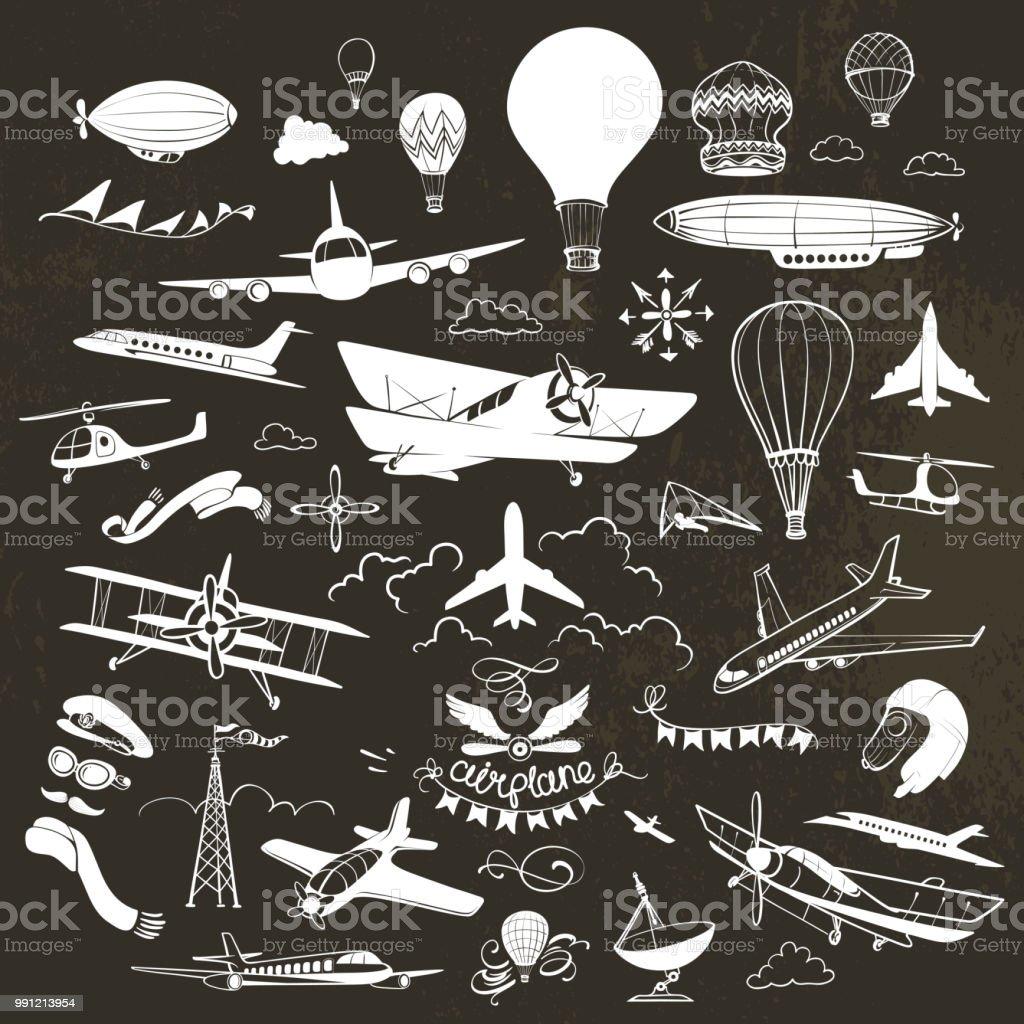 Avión Vintage dibujos de tiza - ilustración de arte vectorial