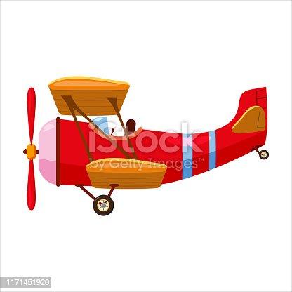 istock Vintage airplane biplane cartoon retro red colour. Vector isolated cartoon style 1171451920