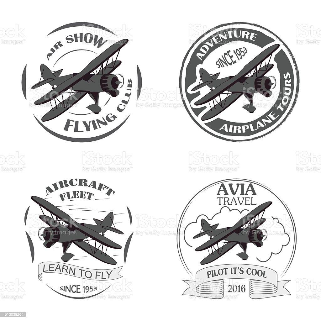 Vintage avión emblemas. - ilustración de arte vectorial
