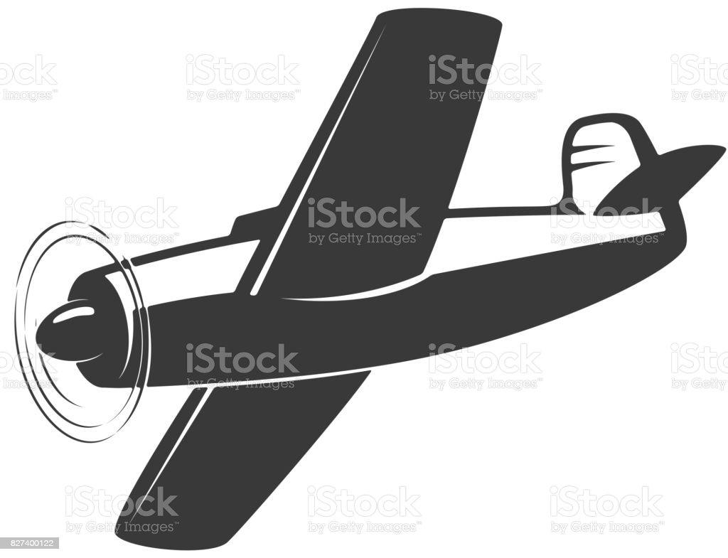 Vintage airplane illustration isolated on white background. Design elements for label, emblem, sign. Vector illustration vector art illustration