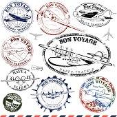 Series of retro/vintage airplane travel stamps.