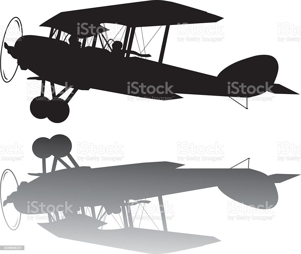 Vintage airplane vector art illustration