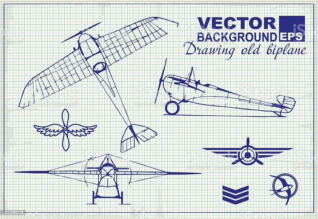 Aviones antiguos dibujo en papel y elementos de diseño gráfico - ilustración de arte vectorial