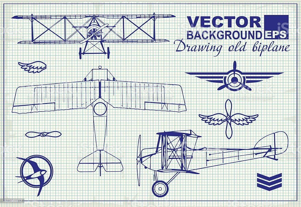 Vintage airplanes drawing on graph paper and design elements vector art illustration