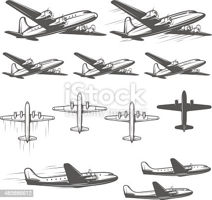 Vintage airplanes from different angles.