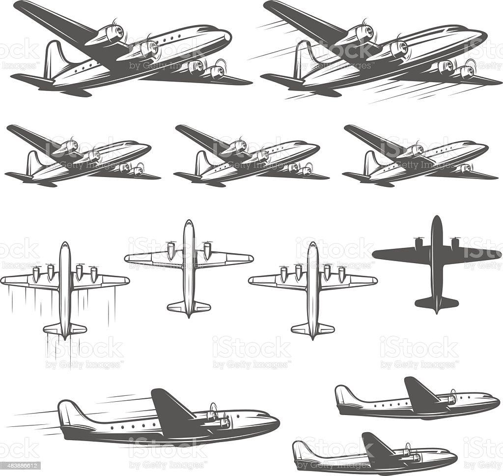 Aviones antiguos de diferentes ángulos - ilustración de arte vectorial